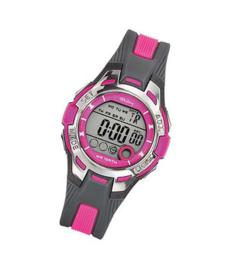 Tekday 653941 digitaal tiener horloge 37 mm 100 meter grijs/ roze