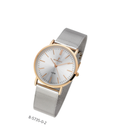 Nowley 8-5735-0-2 analoog tiener horloge 36 mm 30 meter zilverkleurig/ rosékleurig