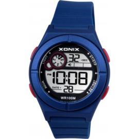 Xonix BAA-005 digitaal tiener horloge 36 mm 100 meter blauw/ rood