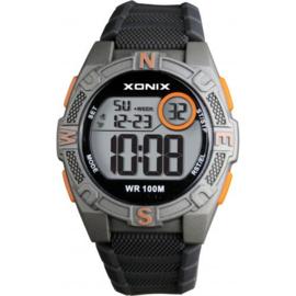 Xonix KQA-005 digitaal tiener horloge 40 mm 100 meter grijs/ oranje