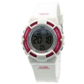 Q&Q M138J002 digitaal tiener horloge 36 mm 100 meter wit/ roze