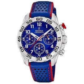 Festina F20458/2  chronograaf horloge 38 mm 50 meter blauw/ rood