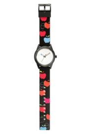 Q&Q RP00J020Y Smile Solar tiener horloge 40 mm 50 meter zwart met appels