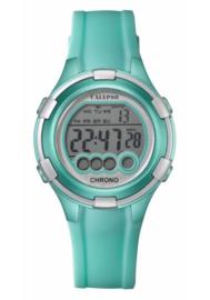 Calypso K5692/7 digitaal tiener horloge 38 mm 100 meter turquoise/ zilverkleurig
