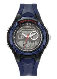 Tekday 654014 analoog/ digitaal tiener horloge 40 mm 100 meter blauw/ zwart