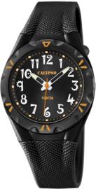 Calypso K6064/6 analoog tiener horloge 35 mm 100 meter zwart/ oranje
