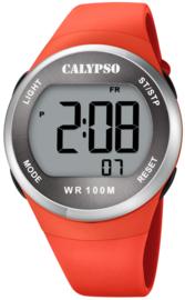 Calypso K5786/2 digitaal tiener horloge 38 mm 100 meter oranje/ zilverkleurig