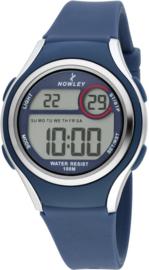 Nowley 8-6273-0-4 digitaal tiener horloge 36 mm 100 meter blauw/ grijs