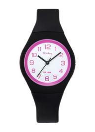 Tekday 654143 analoog tiener horloge 34 mm 100 meter zwart/ roze
