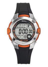 Tekday 653876 digitaal tiener horloge 38 mm 100 meter zwart/ oranje