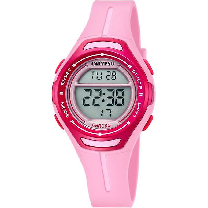 Calypso K5727/2 digitaal tiener horloge 34 mm 100 meter roze