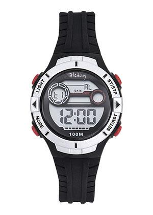 Tekday 653277 digitaal tiener horloge 34 mm 100 meter zwart/ zilverkleur