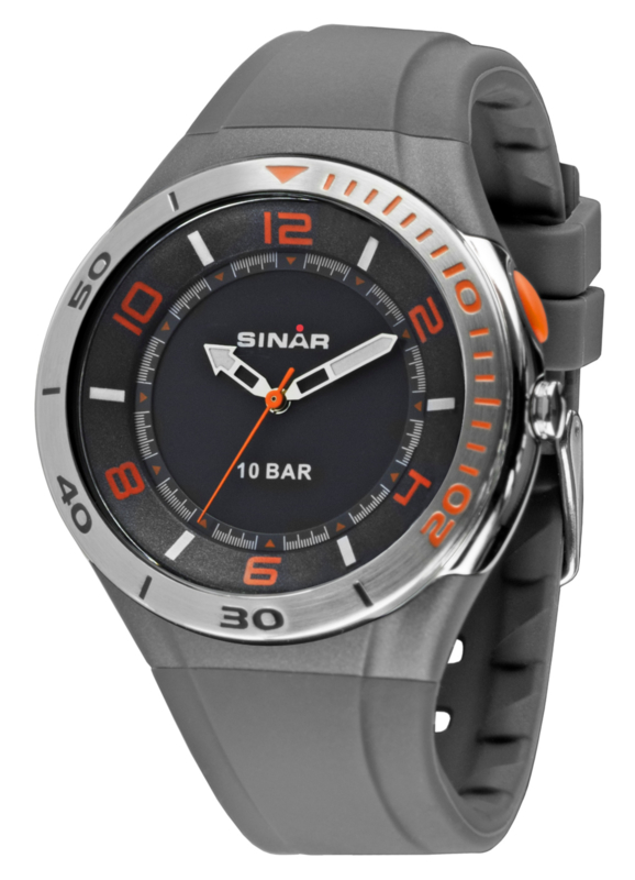 Sinar XB-31-9 analoog tiener horloge 45 mm 100 meter grijs/ oranje