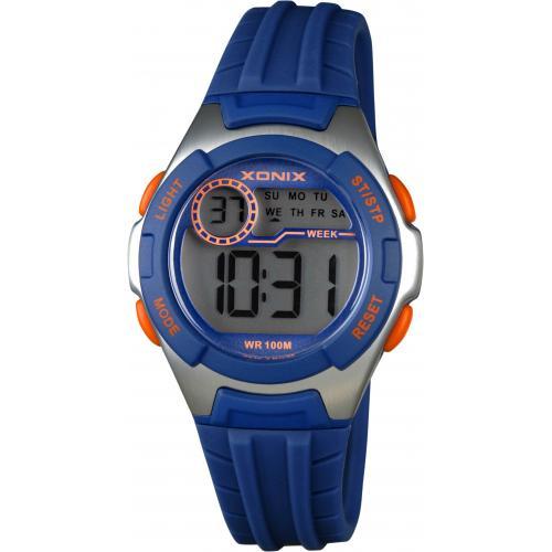 Xonix IN-006 digitaal tiener horloge 34 mm 100 meter blauw/ zilverkleur