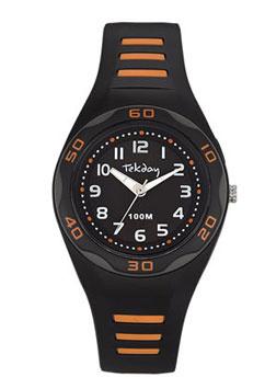 Tekday 653491 analoog tiener horloge 34 mm 100 meter zwart/ oranje