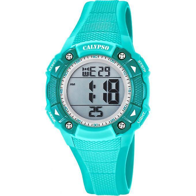 Calypso K5728/4 digitaal tiener horloge 38 mm 100 meter turquoise