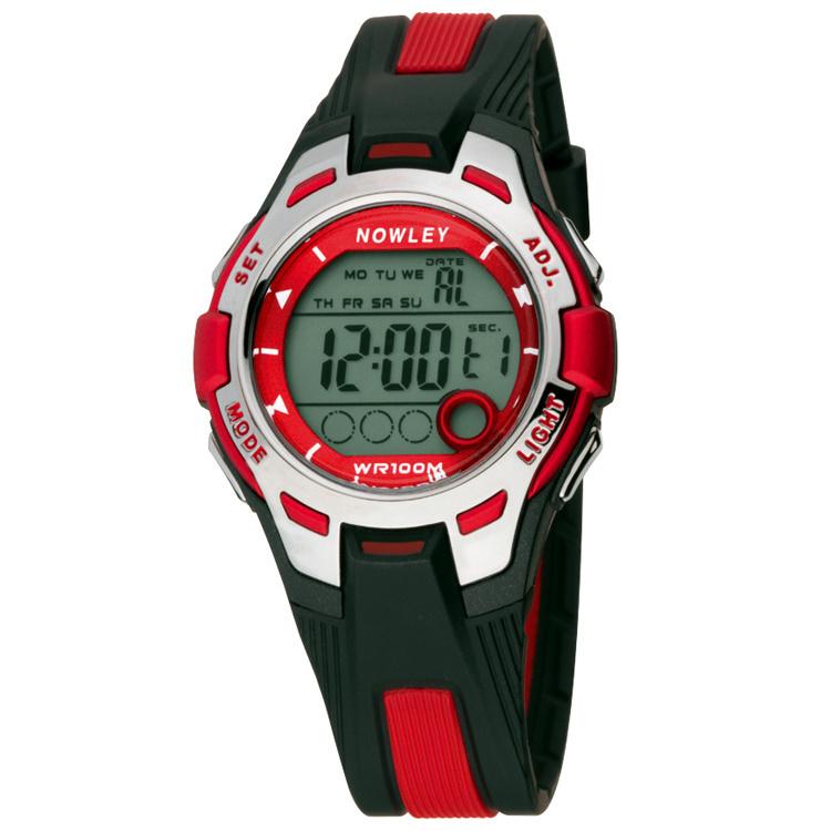 Nowley 8-6301-0-1 digitaal tiener horloge 37 mm 100 meter zwart/ rood