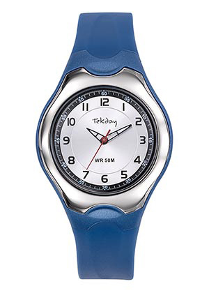 Tekday 654124 analoog tiener horloge 37 mm 50 meter blauw/ zilverkleurig
