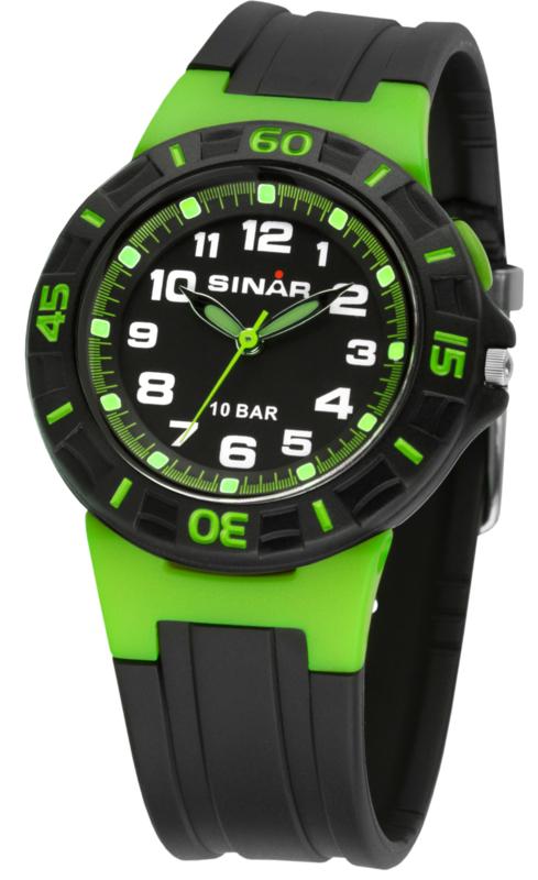 Sinar XB-20-3 analoog tiener horloge 38 mm 100 meter zwart/ groen