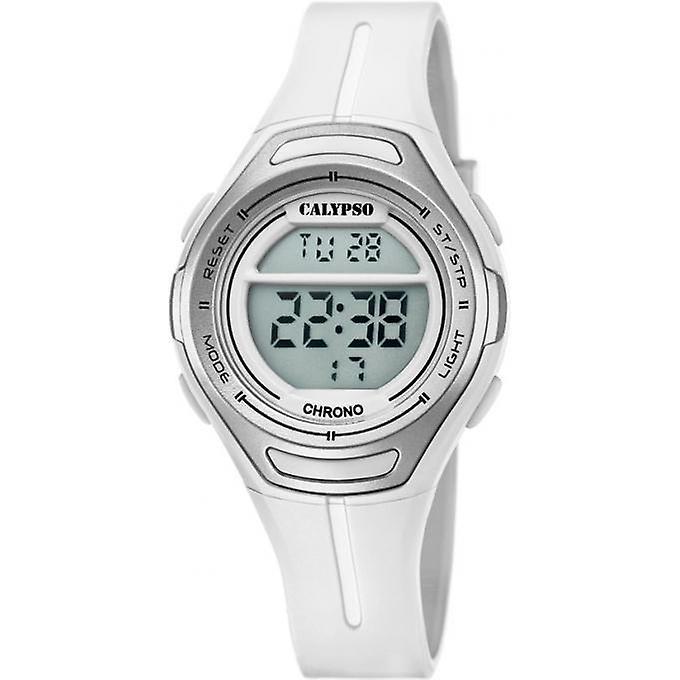 Calypso K5727/1 digitaal tiener horloge 34 mm 100 meter wit/ grijs
