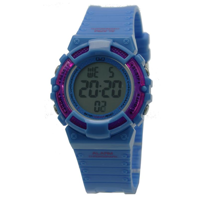 Q&Q M138J005 digitaal tiener horloge 36 mm 100 meter blauw/ roze