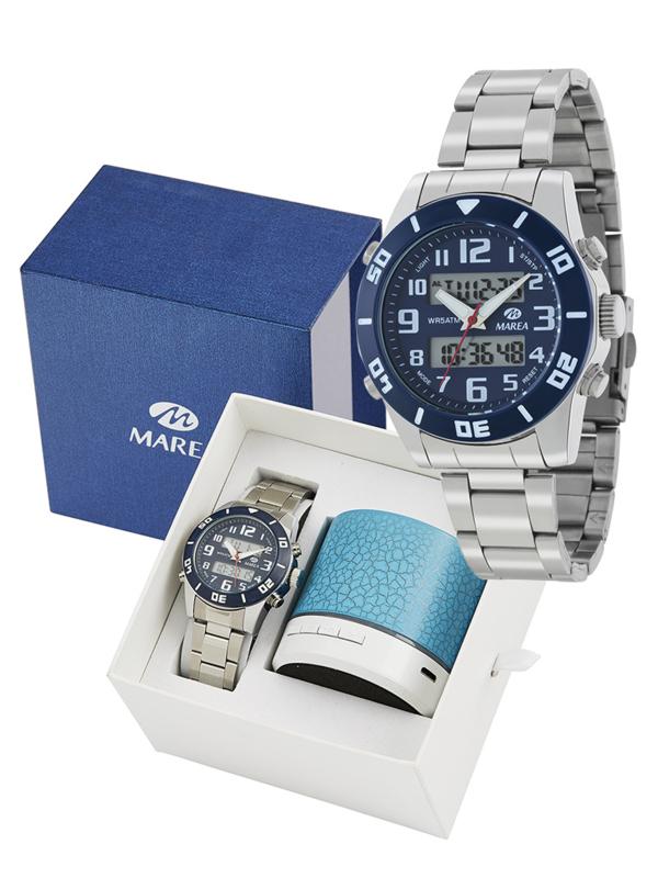 Marea B35281/11 analoog/ digitaal horloge 38 mm 50 meter blauw