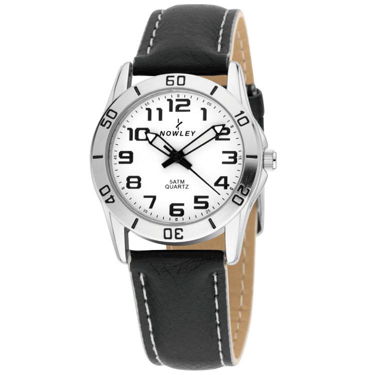 Nowley 8-5385-0-2 analoog tiener horloge 32 mm 50 meter zwart/ wit