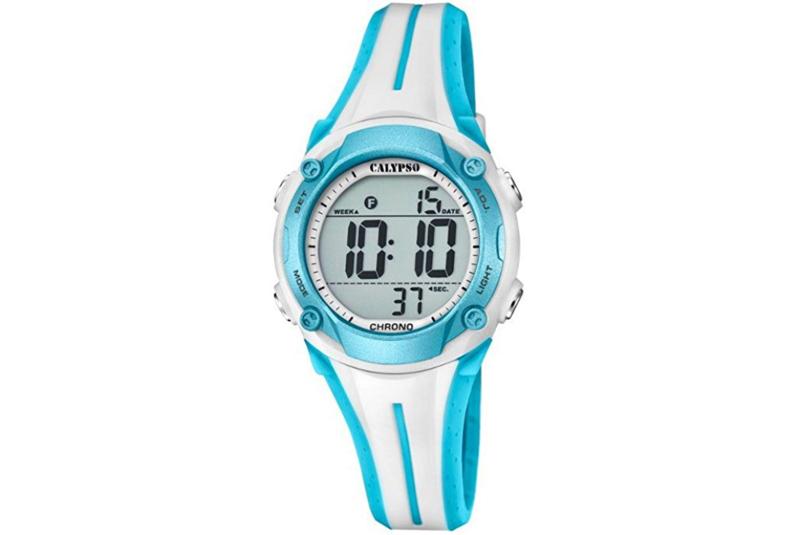 Calypso K5682/8 digitaal tiener horloge 35 mm 100 meter wit/ blauw