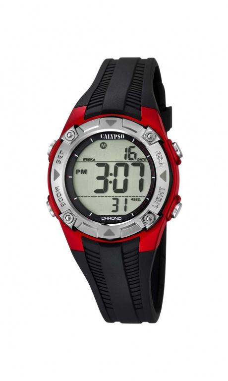Calypso K5685/6 digitaal tiener horloge 37 mm 100 meter zwart/ rood