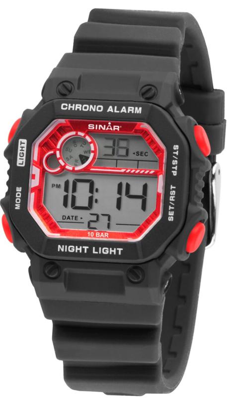 Sinar XE-55-1 digitaal tiener horloge 35 mm 100 meter zwart/ rood