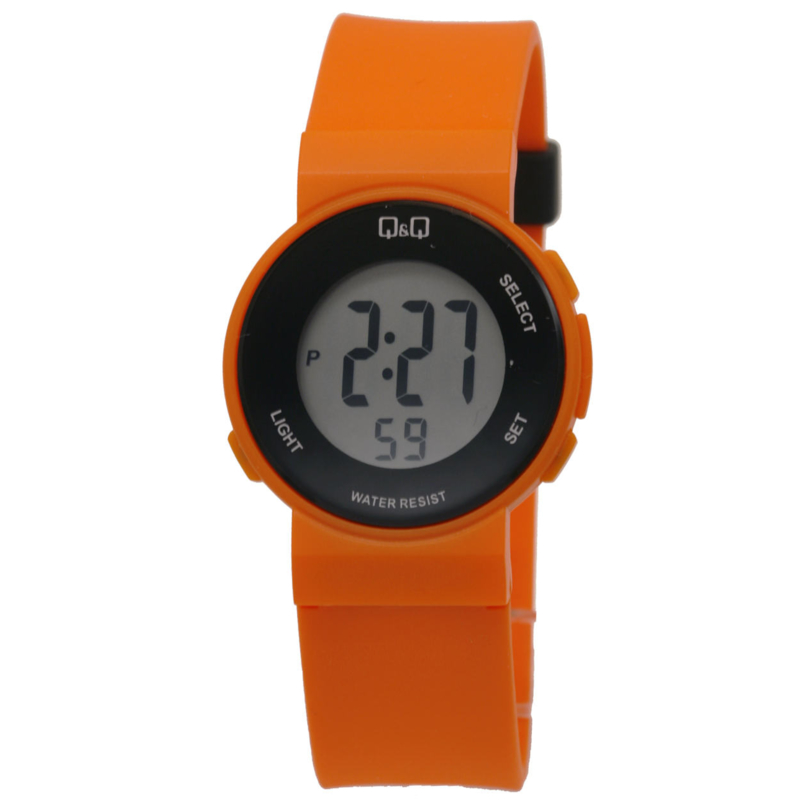 Q&Q L000J068 digitaal tiener horloge 38 mm 50 meter oranje/ zwart