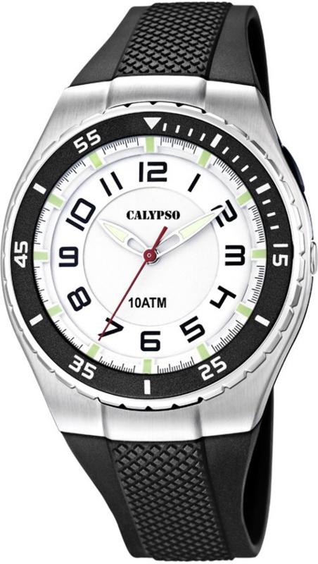 Calypso K6063/3 analoog tiener horloge 42 mm 100 meter zwart/ wit