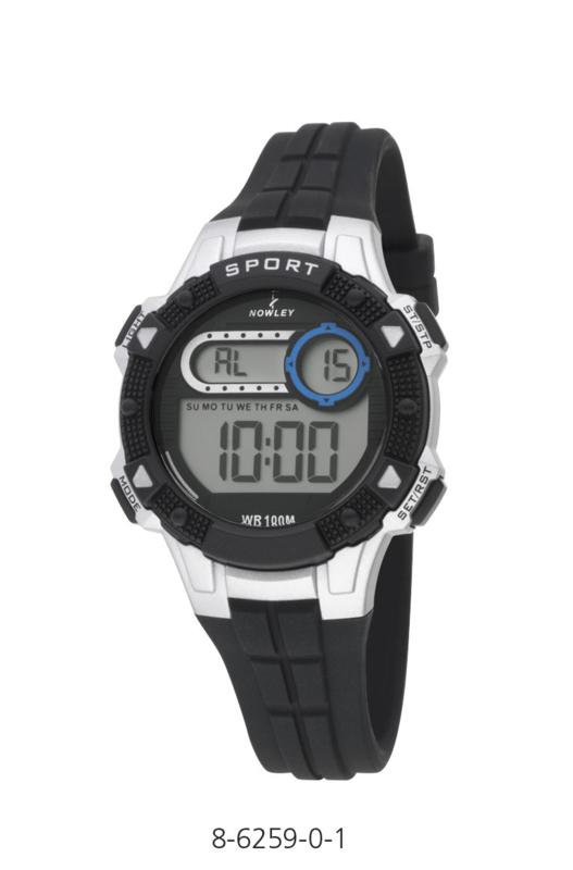 Nowley 8-6259-0-1 digitaal tiener horloge 36 mm 100 meter zwart/ zilver