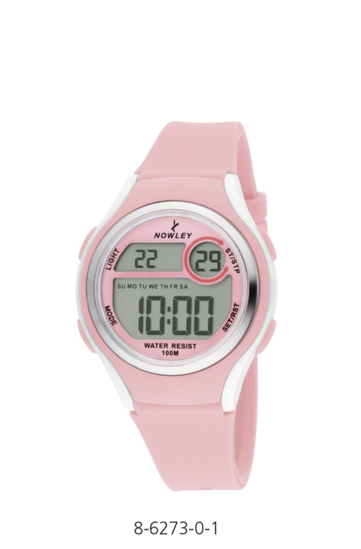 Nowley 8-6273-0-1 digitaal tiener horloge 36 mm 100 meter roze/ wit