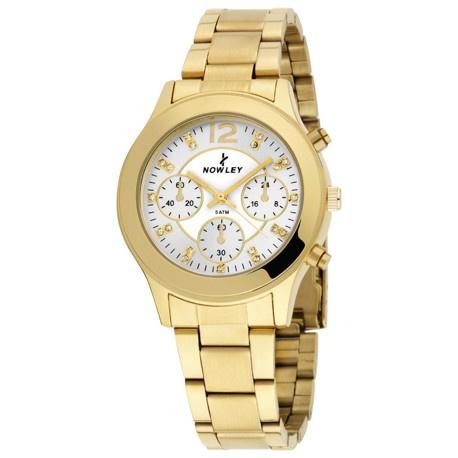 Nowley 8-5370-0-0 analoog tiener horloge chrono look 37 mm 50 meter goudkleurig