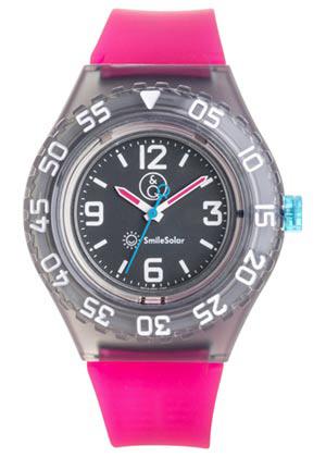 Q&Q 651029 Smile Solar tiener horloge 43 mm 200 meter fuchsia/ zwart