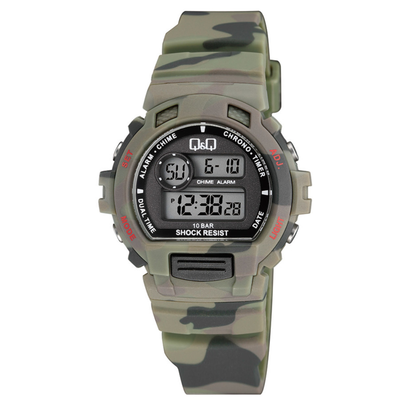 Q&Q M153J008 digitaal tiener horloge 40 mm 100 meter leger groen
