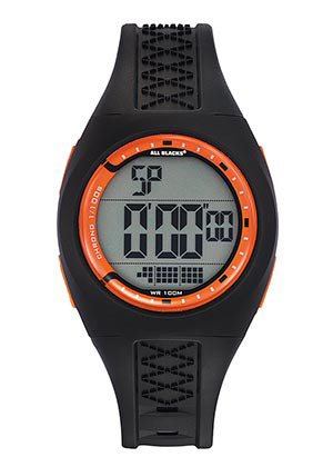 All Blacks 680280 digitaal tiener horloge 36 mm 100 meter zwart/ oranje