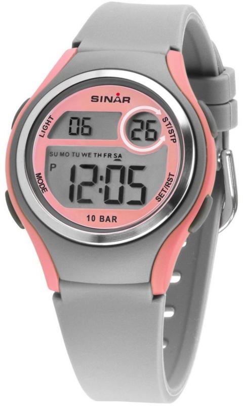 Sinar XE-64-9 digitaal tiener horloge 36 mm 100 meter grijs/ roze