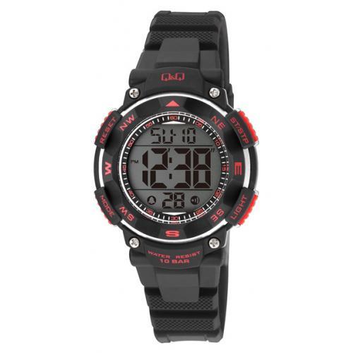 Q&Q M149J001 digitaal tiener horloge 36 mm 100 meter zwart/ rood