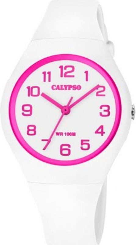 Calypso K5777/5 analoog tiener horloge 34 mm 100 meter wit/ roze