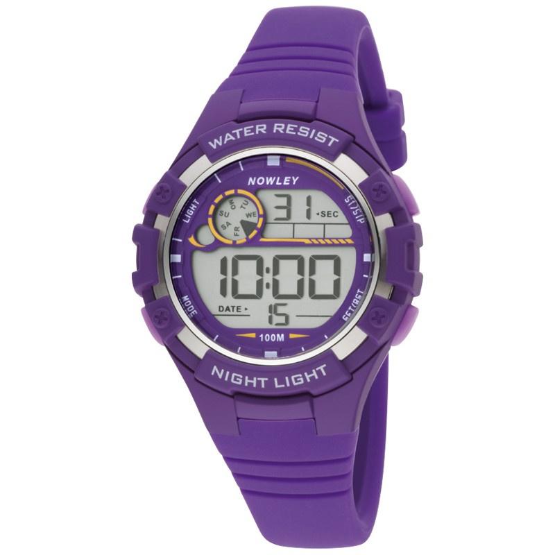Nowley 8-6241-0-6 digitaal tiener horloge 38 mm 100 meter paars