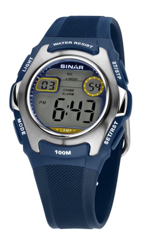 Sinar XE-50-2 digitaal tiener horloge 38 mm 100 meter blauw/ grijs
