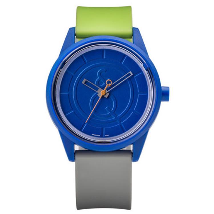 Q&Q RP00J008Y Smile Solar tiener horloge 50 meter 40 mm blauw/ grijs/ groen