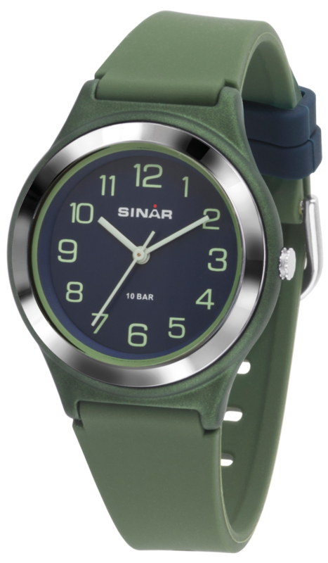 Sinar XB-48-3 analoog tiener horloge 36 mm 100 meter groen/blauw