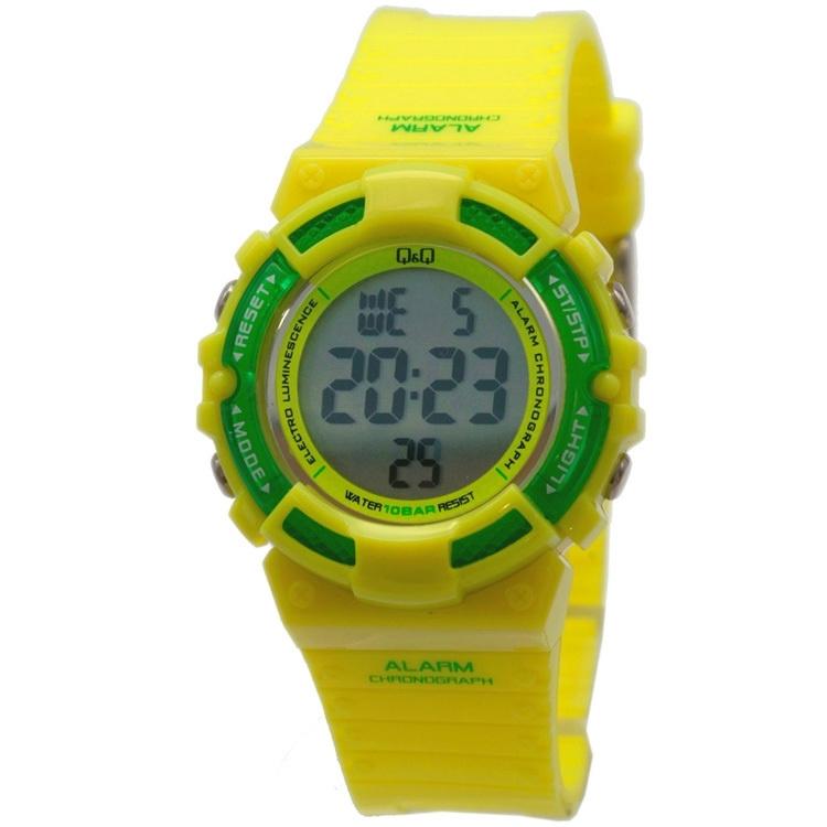 Q&Q M138J006 digitaal tiener horloge 36 mm 100 meter geel/ groen