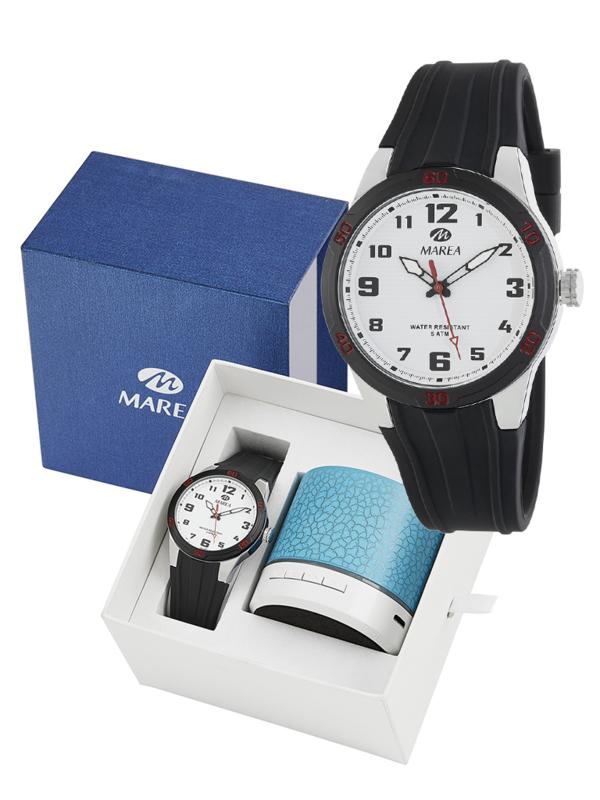 Marea B35320/1 analoog horloge 38 mm 50 meter zwart/ wit