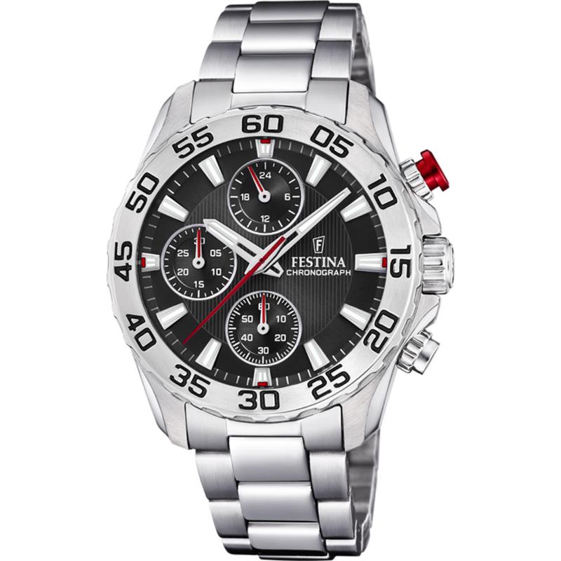Festina F20457/3 chronograaf horloge 38 mm 50 meter zilverkleurig/ zwart