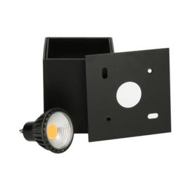 Opbouwspot Leos GU10 + LED dimbaar - zwart