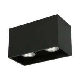Opbouwspot Leos Twin GU10 + LED dimbaar - zwart